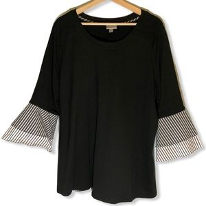 Avenue Black Long Tiered Striped Bell Sleeve 18/20